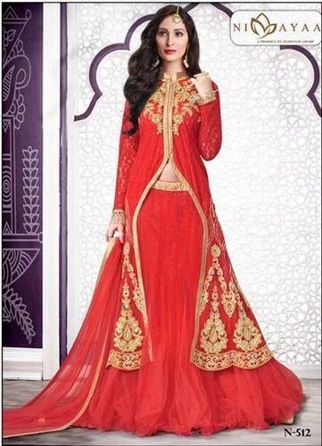 942d5ad923 Womens Tomato Red Net Lehenga Choli at Rs 8990 /piece | Lehenga ...