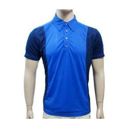 Men Blue Polyester Collar T-shirt