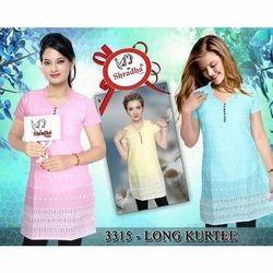 Ladies Cotton Half Sleeve Long Kurti, Color: Pink, Yellow & Sky Blue