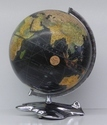 Black Oceans Design Antique Finish World Globe