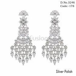 fusion Girls American Diamond Designer Bridal Hanging Earrings
