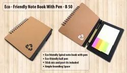 B50 Eco Notebook With Pen And Sticky Pads