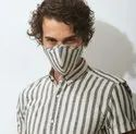 Casual Wear Stripes Mens Short Sleeve Striped Shirts With Matching Mask, Size: S-xxl