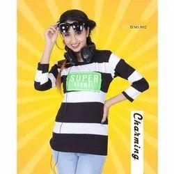 3/4 Sleeve Ladies Striped T Shirt