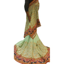 Georgette Embroidered Ladies Trendy Saree With Blouse Piece