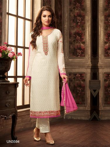 6d2c8bc3c Party Wear Off White Georgette Embroidered Semi-Stitched Suit at Rs ...