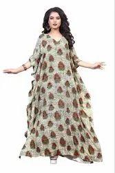 Women Printed Rayon Cotton Long Kaftan