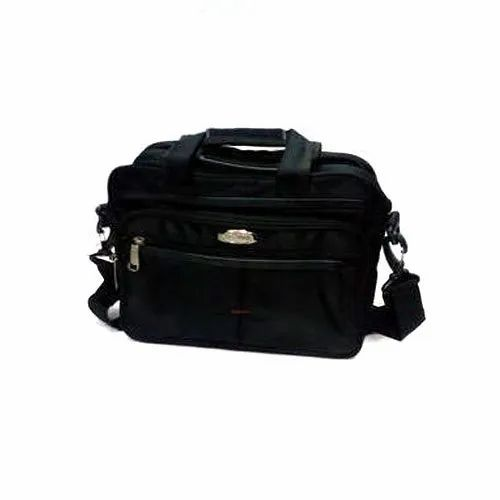 Aristo Black Leather Office Bag, Size: W2 X L16.5 X H12.5 Inch