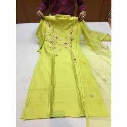 Femiwrap Party Wear Ladies Designer Art Chanderi Embroidered Suit, Size: 42-46
