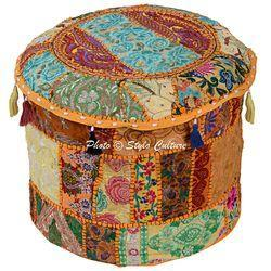 Embroidered Round Ottoman Pouf Cushion Cover