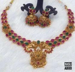 South Indian Brass Laxmi Kemp Necklace Choker Set