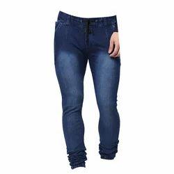 Denim Plain Mens Washed Dark Blue Jogger Jeans