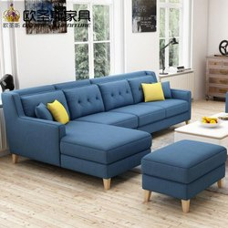 Continental Blue L Shape Sofa for Home