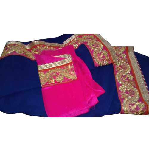 Georgette Party Wear Navy Blue Fancy Saree