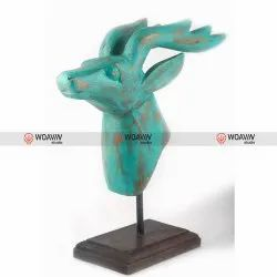 Wooden Deer With Stand Distressed