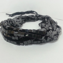 Natural Black Spinel Plain Smooth Box Cube Beads Strand