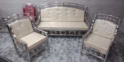 Stainless Steel White Sofa Set