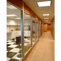 Grey Plain Sound Proof Glass Partition, Shape: Rectangular