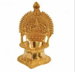 Round Pooja Brass Kamakshi Diya, For Worship, Packaging Type: Box