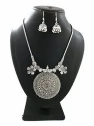 German Silver Chain Necklace With Earrings