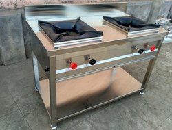 Steel 2 Burner Gas Stove, For Kitchen, Size: 45x24X32