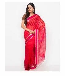 Cotton Silk Stitched Stripe Zari Saree