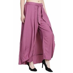 Plain Women Regular Fit Peach Poly Crepe Trousers