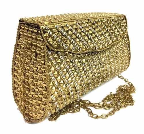 Hand Work Clutch Bag Golden Clutches, Rs