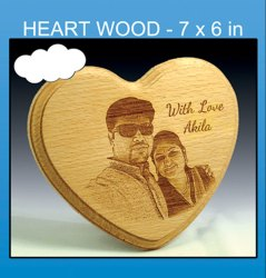 Wooden Brown Heart Shape Engraved Photo Frame, For Gift