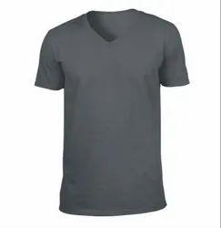 Cotton Plain V Neck T Shirt