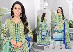 V Neck Full Sleeve Essenza Salwar Suit Fabric
