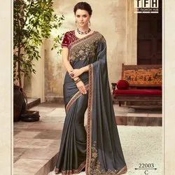 Decent Embroidery Silk Saree