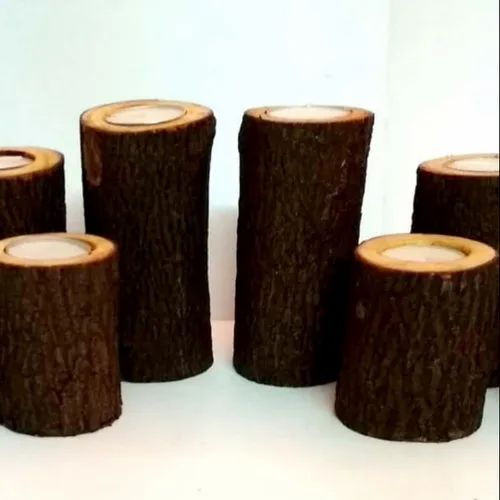 Natural Tree Log / Bamboo Wood Flower vase, Shape: Round Shaped, Size: User Defined