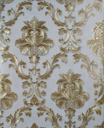 Vinyl Wallpaper Gold Wall Covering Roll Textured Metallic Damask 3d Stripe  Luxury
