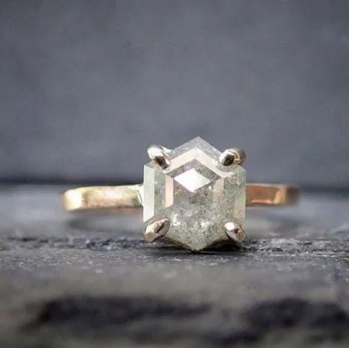 5e0b8ca1cd21a Unique Rose Cut Hexagon Diamond Solitaire Ring