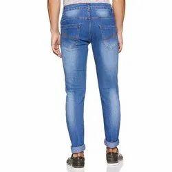 Zipper Comfort Fit Mens Faded Blue Denim Jeans