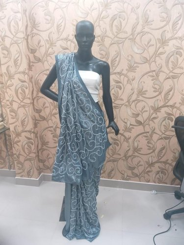 Viscose Pearl work Designer Saree, Dry clean