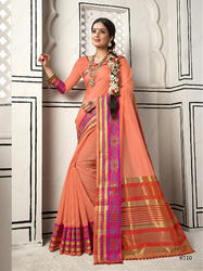 Unique Peach Colored Party Wear Chanderi Cotton Saree with Blouse Piece