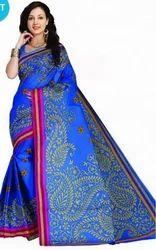 Dodger Blue Vismay Cotton Printed With Border Saree