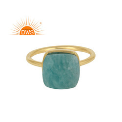 Amazonite Gemstone 18k Yellow Gold Plated Handmade Silver Rings