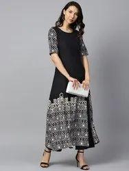 Black Printed Half Sleeve Cotton A-Line Kurta With White Printed Palazzo