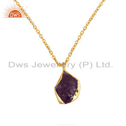 Nugget Design Amethyst Gemstone Gold Plated Silver Chain Pendant