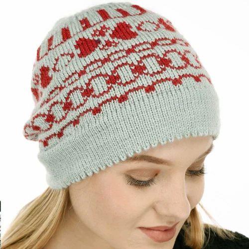 VR Designers Handknitted Christmas Pattern Woolen Winter Cap c1586e8d8af