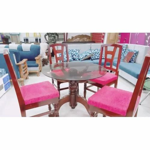 Roy Furniture Pink 4 Seater Glass Dining Table 42 Inch Height Rs 25000 Set Id 21667315530