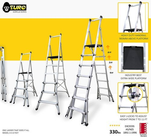 Euro Gorilla Series  Ft Reach 13 Ft Aluminium Step Telescopic Ladder