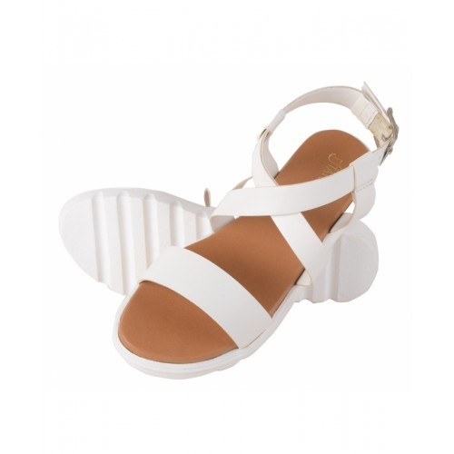 7f0275894 Escatos Women White Platform Flat Sandals