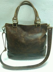 Choco Crunch Leather Tote Bag