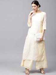 WHITE & YELLOW STRIPED STRAIGHT KURTA
