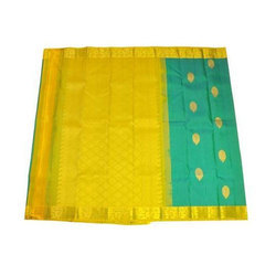 Yellow Base Plain Handloom Silk Saree, Without Blouse Piece