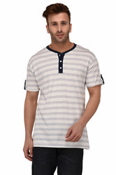 Men Short Sleeve Mandarin Neck T-Shirt